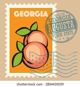 Stamp set with the name Georgia, United States, vector illustration