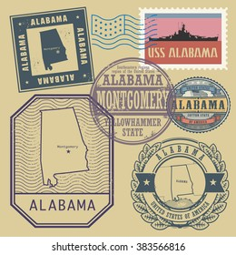 Stamp set with the name and map of Alabama, United States, vector illustration