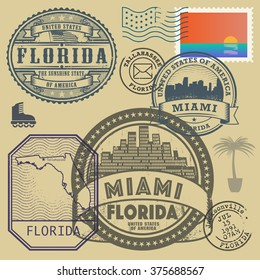 Stamp set with the name and map of Florida, United States, vector illustration