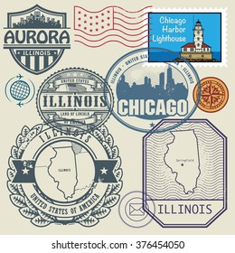Stamp set with the name and map of Illinois, United States, vector illustration