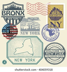Stamp set with the name and map of New York, United States, vector illustration