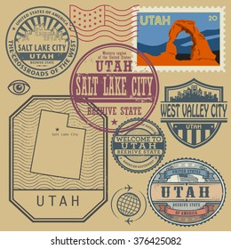 Stamp set with the name and map of Utah, United States, vector illustration