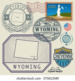 Stamp set with the name and map of Wyoming, United States, vector illustration