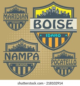 Stamp set with names of Idaho cities, vector illustration