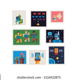 Stamp set, running men, hand holding a phone, arcade game, diver, flowers, satellite, vintage postmark template pixel art icon, Design for logo, sticker and mobile app. Isolated vector illustration.