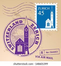 Stamp set with words Zurich, Switzerland inside, vector illustration