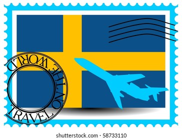 "Stamp ""Sweden (Stockholm), travel by plane on the world"" vector eps10"
