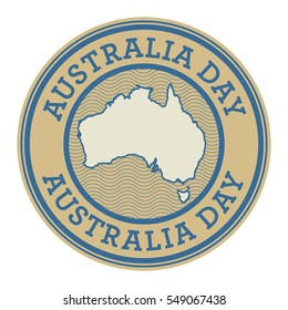 Stamp or tag with text Australia Day, vector illustration