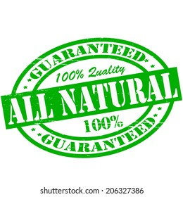 Stamp with text all natural inside, vector illustration