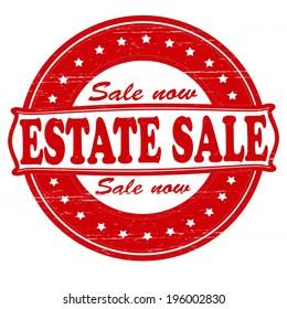Stamp with text estate sale inside, vector illustration