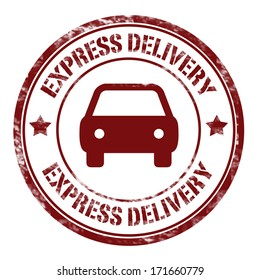 stamp with text express delivery vector illustration