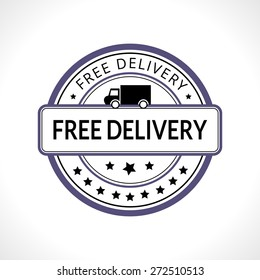 Stamp with the text free delivery written inside business icon