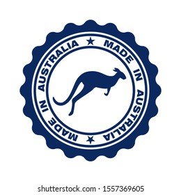 Stamp with text made in Australia. Seal  with map of Australia in color australian flag. Label made in Australia. Logo australian quality. Icon premium quality. Vector illustration
