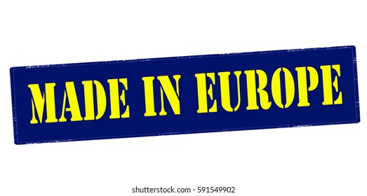 Stamp with text made in Europe inside, vector illustration
