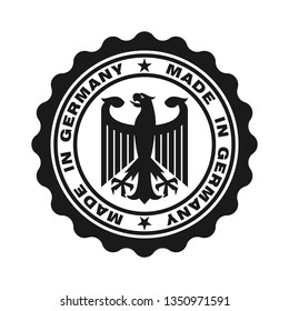 Stamp with text made in Germany. Logo german quality. Eagle in centre stamp. Icon premium quality. Label made in Germany. Vector illustration