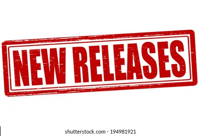 Stamp with text new releases inside, vector illustration