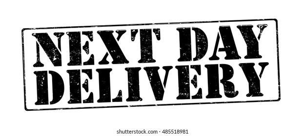 """stamp with text """"next day delivery"""" isolated on white background. Vector illustration"""