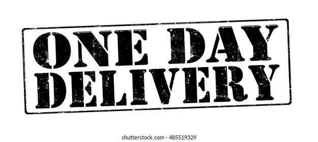 """stamp with text """"one day delivery"""" isolated on white background. Vector illustration"""