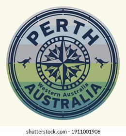 Stamp with the text Perth, Western Australia written inside the stamp, vector illustration