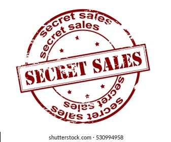 Stamp with text secret sales inside, vector illustration