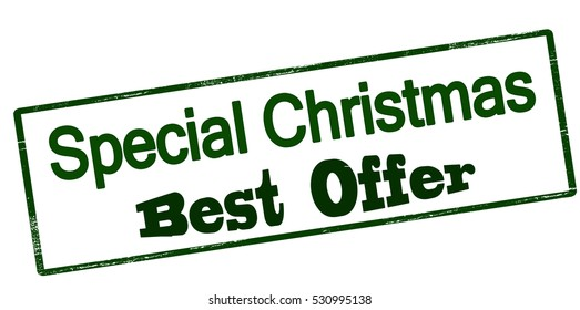 Stamp with text special Christmas best offer inside, vector illustration