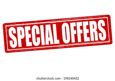 Stamp with text special offers inside, vector illustration