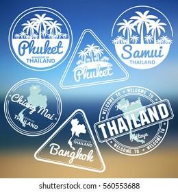 stamp with Thailand map made in phuket samui bangkok