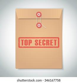 Stamp top secret with red text over brown document file