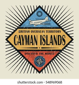 Stamp or vintage emblem with airplane, compass and text Cayman Islands, Discover the World, vector illustration