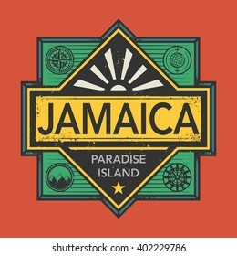 Stamp or vintage emblem with text Jamaica, Discover the World, vector illustration