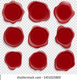 Stamp wax red seal. Icons set. Vector illustration isolated on transparent background.
