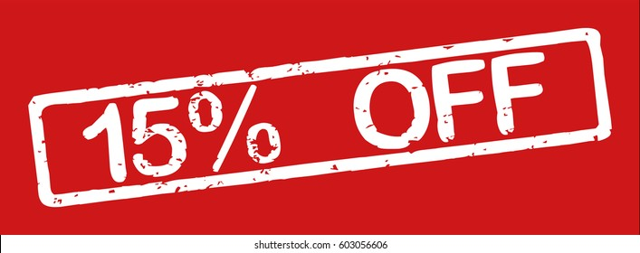 "Stamp with word ""15% off"", grunge style, white text on red background"