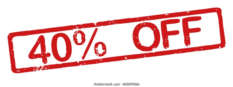 "Stamp with word ""40% off"", grunge style, on white background"