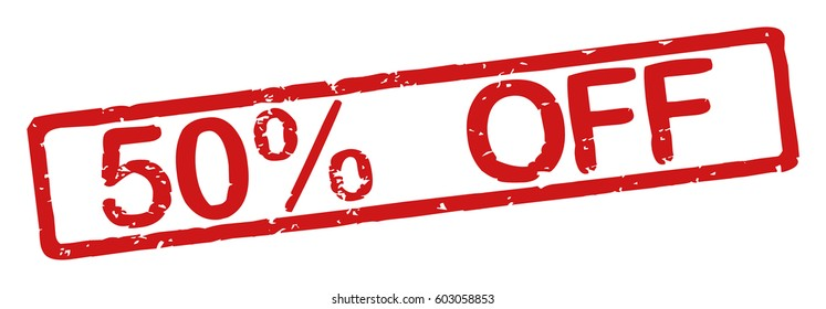 "Stamp with word ""50% off"", grunge style, on white background"