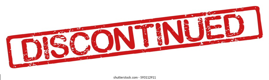 """Stamp with word """"discontinued"""", grunge style, on white background"""