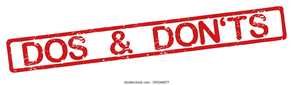 """Stamp with word """"do's and don'ts"""", grunge style, on white background"""
