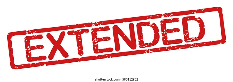 """Stamp with word """"extended"""", grunge style, on white background"""
