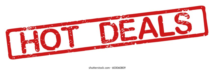 "Stamp with word ""hot deals"", grunge style, on white background"