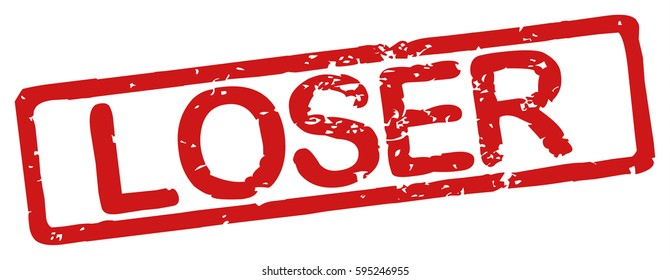 """Stamp with word """"loser"""", grunge style, on white background"""