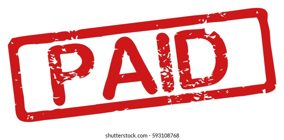 """Stamp with word """"paid"""", grunge style, on white background"""