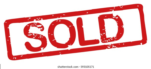 """Stamp with word """"sold"""", grunge style, on white background"""