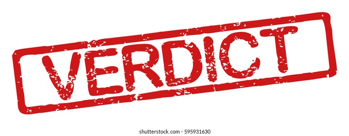 """Stamp with word """"verdict"""", grunge style, on white background"""