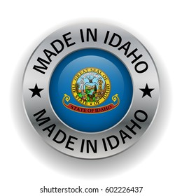 Stamped made in Idaho. The symbol of the state. Design element. On a white background. Vector illustration. Icon.
