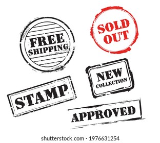 stamping marks. texts written by stamp, sold out, new collection, free shipping, approved.
