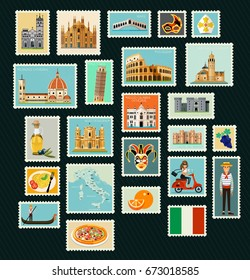 Stamps with Historical Architecture of Italy. Vector illustration.