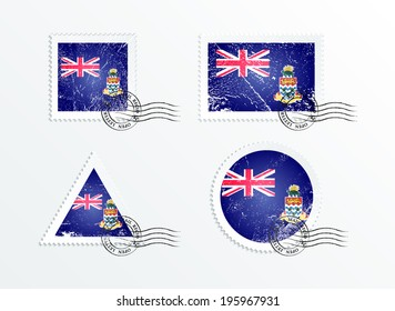 Stamps with the image of the flag. Stamp with flag. Triangular stamp, stamp rectangular, round stamp, square stamp. Mark in grungy style. Battered mark. Old label. Flag of the Cayman Islands