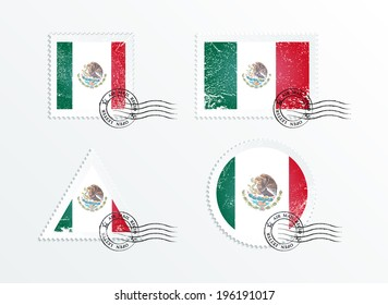 Stamps with the image of the flag. Stamp with flag. Triangular stamp, stamp rectangular, round stamp, square stamp. Mark in grungy style. Battered mark. Old label. Flag of Mexico