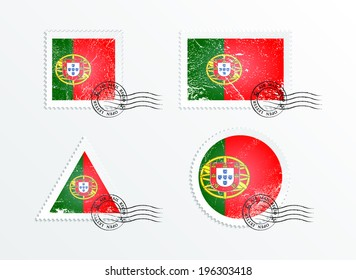 Stamps with the image of the flag. Stamp with flag. Triangular stamp, stamp rectangular, round stamp, square stamp. Mark in grungy style. Battered mark. Old label. Flag of Portugal
