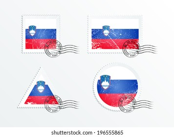 Stamps with the image of the flag. Stamp with flag. Triangular stamp, stamp rectangular, round stamp, square stamp. Mark in grungy style. Battered mark. Old label. Flag of Slovenia