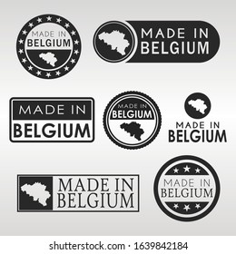 Stamps of Made in Belgium Set. Belgian Product Emblem Design. Export Vector Map.